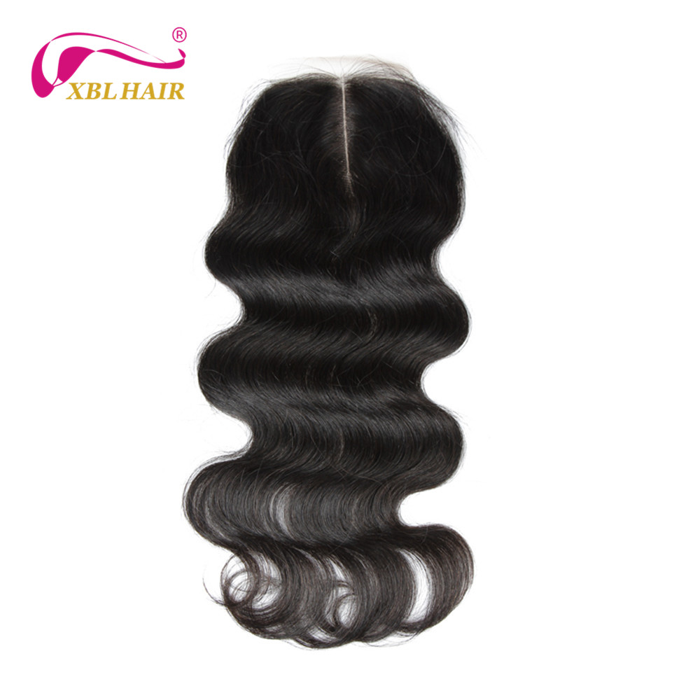 XBL HAIR Peruvian Hair Body Wave Lace Closure Middle Part 100% Remy Human Hair Natural Color 8-20″ Inches Free Shipping