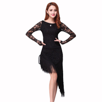 Retail Latin Dance Dress Tassel Elegant Sexy Women Tango Ballroom Salsa Stage Dance Costumes Lace Patchwork