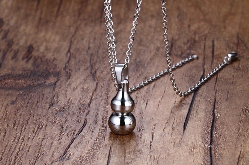 Open silver Gourd pendant Necklace Men Jewelry 16