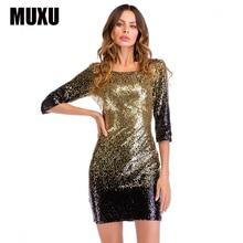 f54d0821422e MUXU sexy della rappezzatura del vestito di paillette di scintillio backless  abbigliamento donna jurk moda feminina