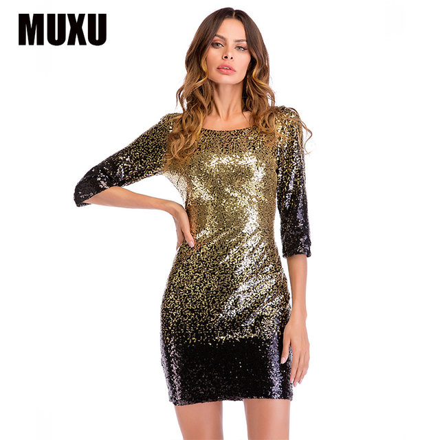 d0f7f76c28 MUXU sexy patchwork sequin dress glitter backless womens clothing jurk moda  feminina bodycon party dresses plus