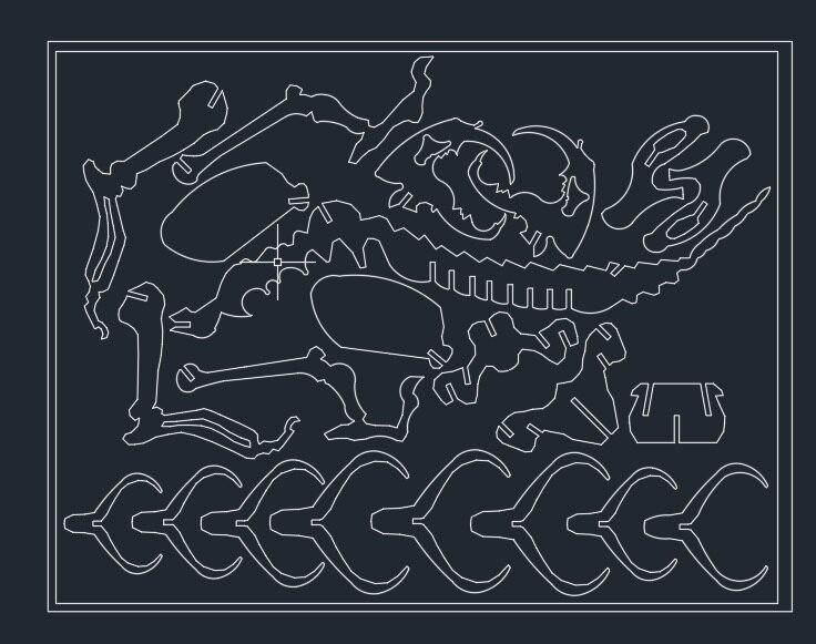 Amato Belodon Dinosauro drago DWG CAD file di disegno per cnc di taglio  VV28
