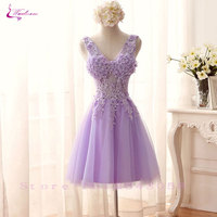 Waulizane Charming Tulle V Neck Mini Short Wedding Dress Applique Sleeveless Lace Up A Line Vestido De Noiva Hot Sale