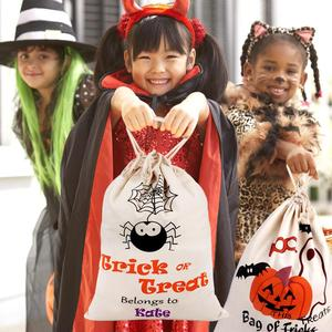 Image 5 - OurWarm 17 x14 inch Halloween Trick or Treat Bags for Kids Reusable Canvas Drawstring Tote Bag Gift Sack Halloween Party Decorat
