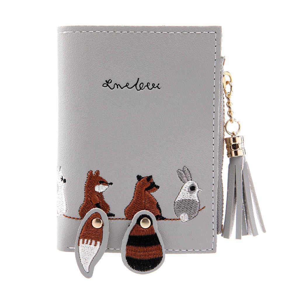 MOLAVE portfele i posiadacze krótki damski portfel Fox kot krótki projektant torebka nowy portmonetka z frędzlami posiadacze kart torebka pakiet 9402