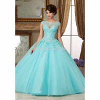 Mint Green 2017 Ball Gown Cap Sleeves Floor Length Tulle Beaded Crystals Appliques Lace Cheap Quinceanera