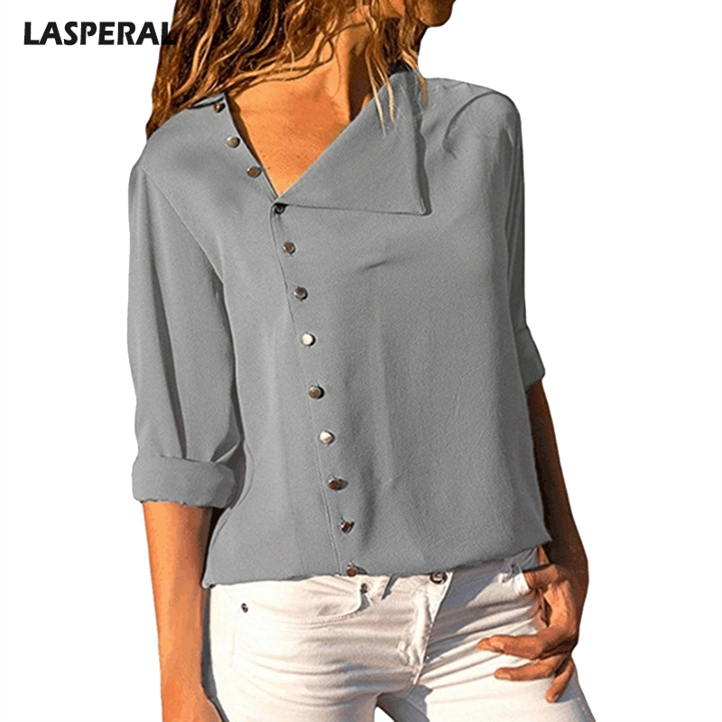 LASPERAL Casual Long Sleeve Women Blouse Shirts 2018 New Solid Streetwear Summer Autumn Blusas Side Button Irregular Female Top