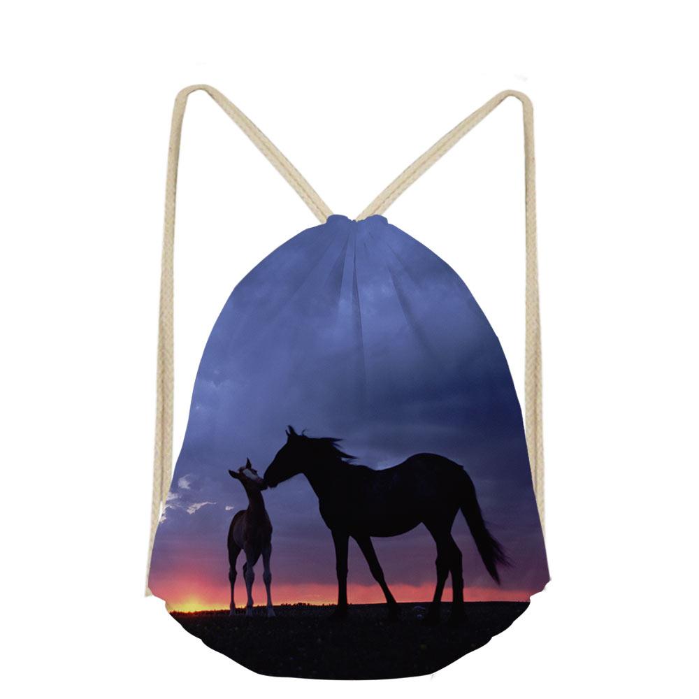 Women Cartoon 3D Animal Horse Printing Casual Makeup Drawstring Bags Cute Backpack Girls School Pocket Bag Shoe Sac Plage