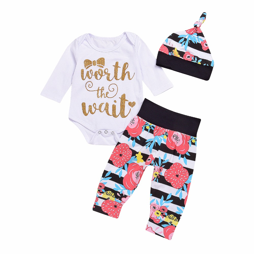 Baby Girl Long Sleeve O-Neck Cloth Set Jumpsuit Romper Floral Striped Pants with Hat Outfits Girls Clothes Sets ship from USA