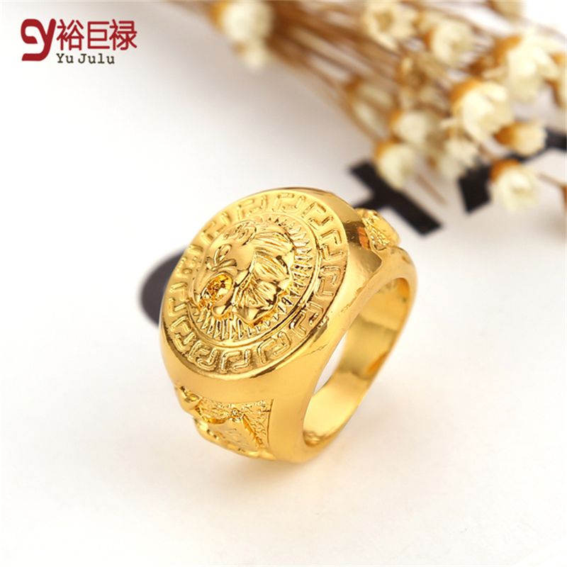 2017 Hip Hop Lion Ring Gold Men High Quality Gold Metal Bling