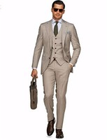 Custom Made Groom Tuxedo Light Khaki Groomsmen Notch Lapel Wedding/Dinner Suits Best Man Bridegroom (Jacket+Pants+Tie+Vest) B455