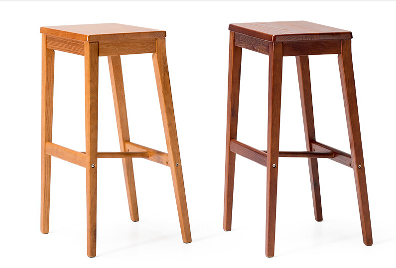 Industrial Vintage Antique Bar Stool Chair Square Seat Wooden Legs Height 66/75cm Loft Style Furniture Counter Bar Stool Wood