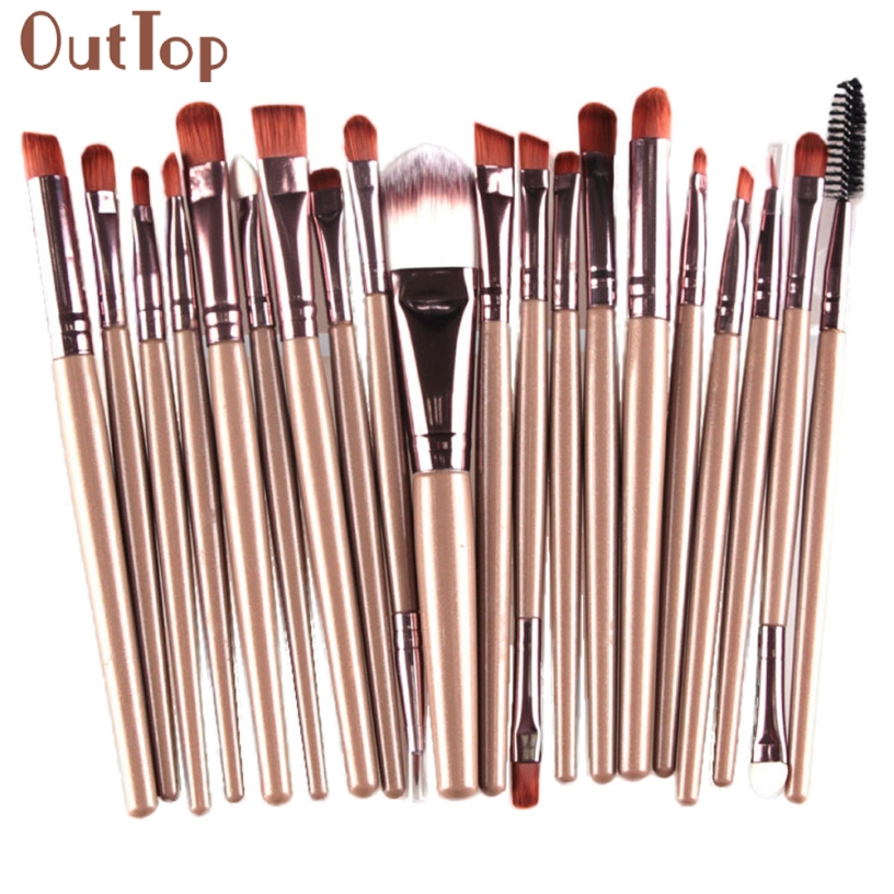 OutTop Best Deal New Good Quality 20 pcs Makeup Brush Set tools Make-up Toiletry Kit Wool Make Up Brush 1 Set Gift j deal 16