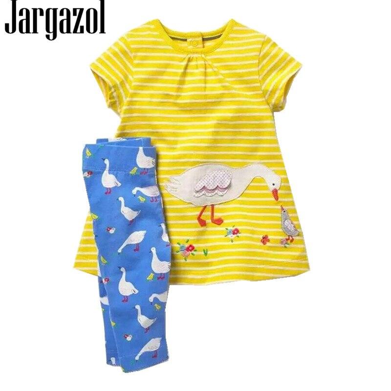 Jargazol enfants vêtements Vetement Enfant Fille 2018 broderie Cartoon haut d'été + pantalon 2 pièces/ensemble coton bébé Fille vêtements 2 T-7 T