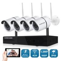 SUNCHAN 4CH CCTV System 960P NVR 4PCS 1 3MP 960P IR Outdoor P2P Wireless IP CCTV