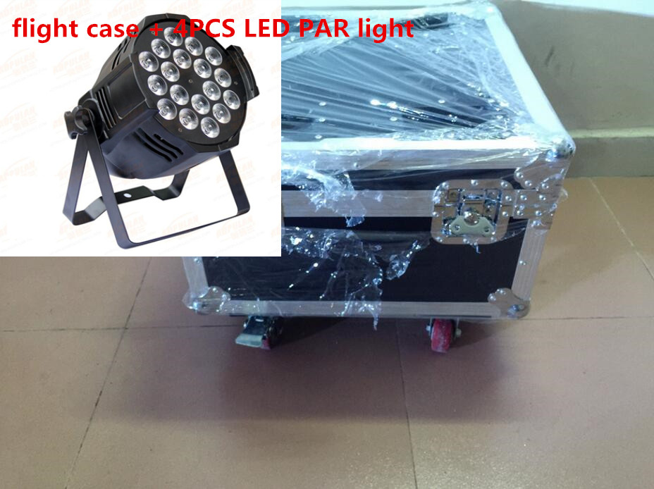 4pcs 18x12W LED Par Lights with 1 flight case Led Par Light RGBW 4in1 LED Par LED Luxury DMX 6/8 Channels Led Flat Par Lights 4pcs lot the brightest 4 8 dmx channels led flat par 18x12w rgbw 4in1 led par can light with power in power out