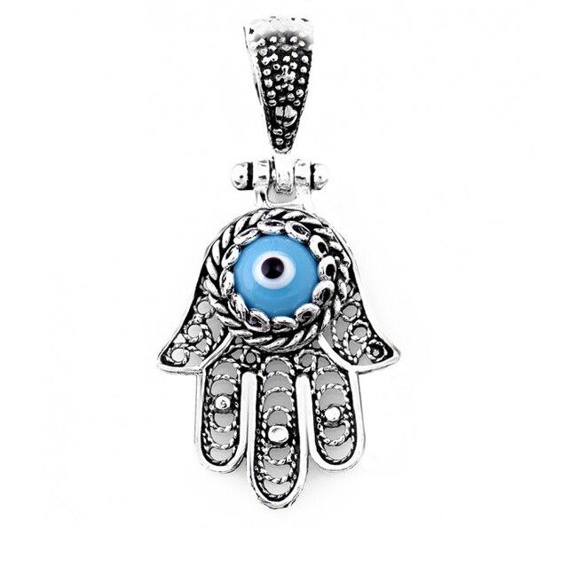 925 Sterling Silver Blue Evil Eye Amulet Charm Khamsa Hamsa Hand Talisman  Inscription for protection against the Evil Eye 9891451228d6