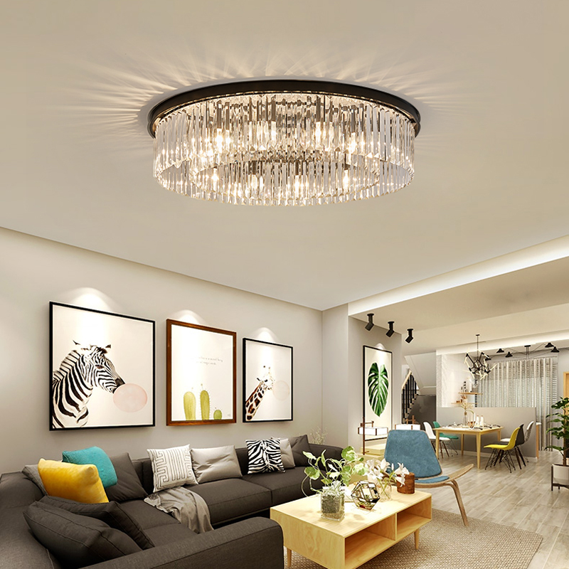 American Crystal Ceiling Lamp Black Round led Crystal Lights Ceiling Modern Living room Dining Room Ceiling Lights Home Lighting