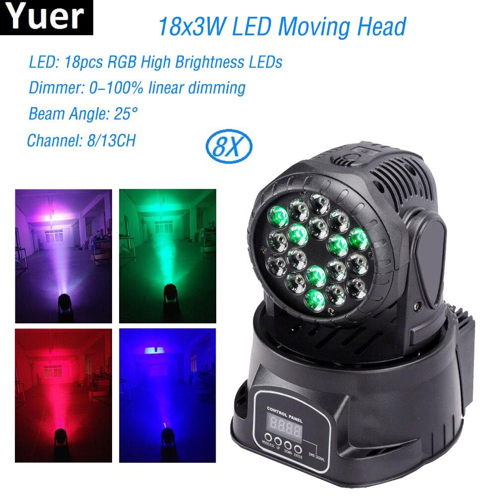 8Pcs/Lot MINI High Brightness Led Moving Head Light 18x3W RGB 3IN1 Stage For Party Bar Disco DJ Lighting