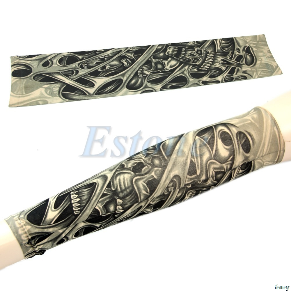 1pc Skeleton Nest Pattern Sleevelet Temporary Fake Slip On Tattoos Arm Sleeves Drop Ship #