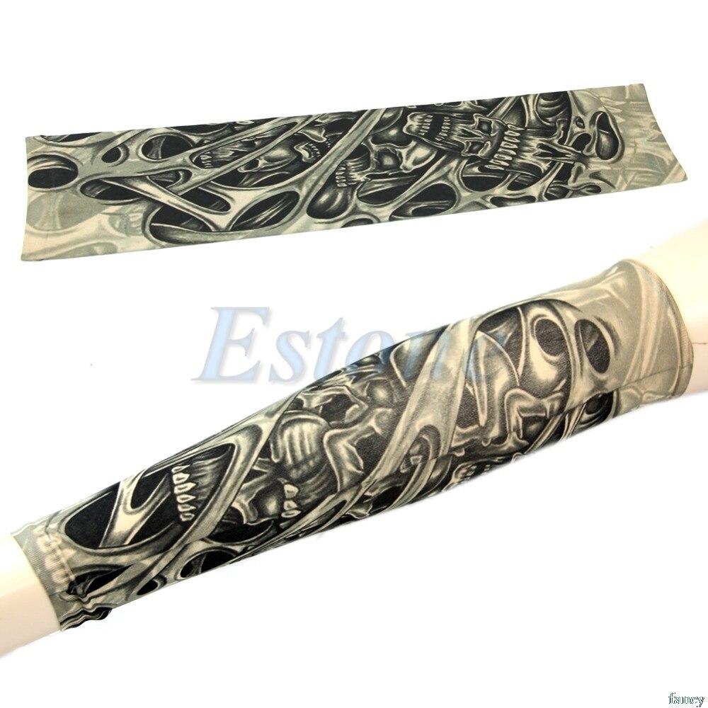 1pc Skeleton Nest Pattern Sleevelet Temporary Fake Slip On Tattoos Arm Sleeves Drop Ship #