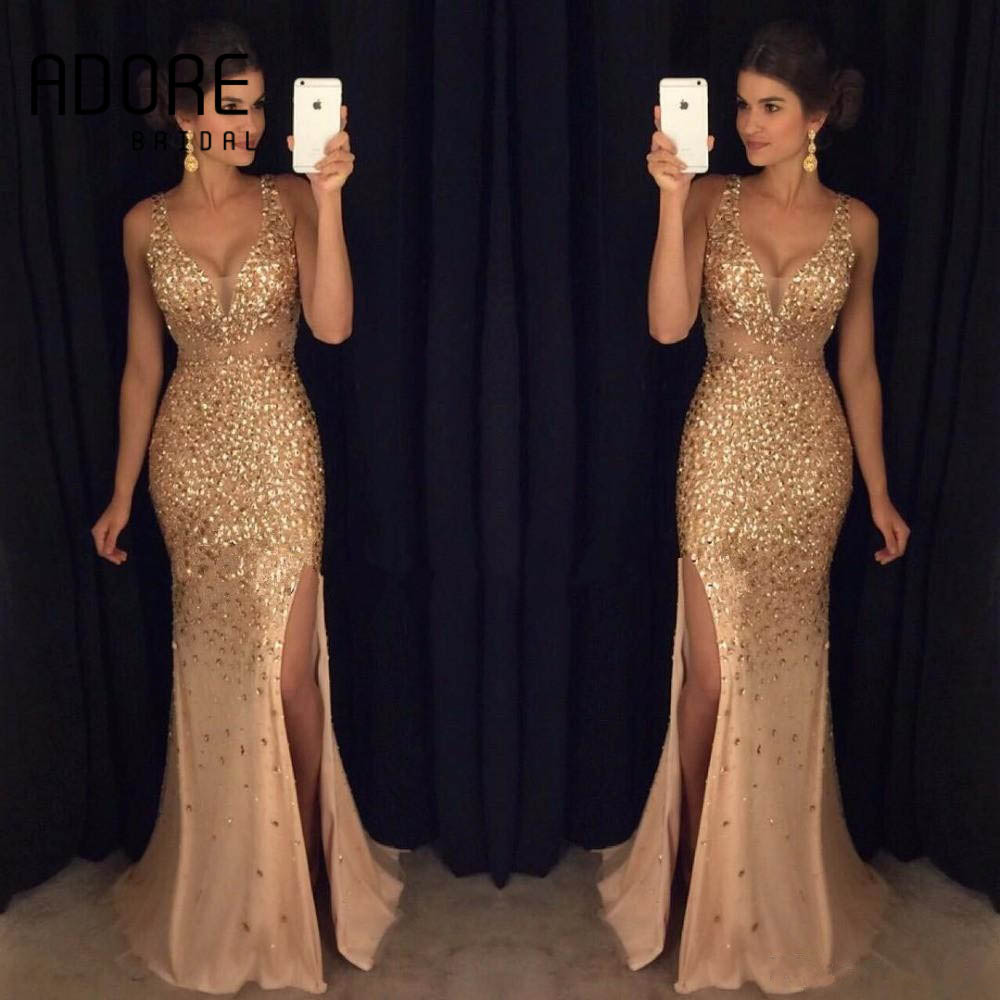 2017 Elie Saab Gold Y Mermaid Evening Dresses Scoop Side Split Beading Deep V Lace Liques Arabic Formal Celebrity Gowns In From