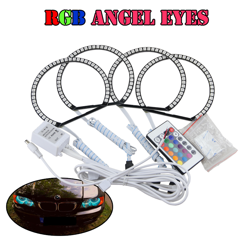 Multi-Color RGBW Remote Control Led Angel Eyes Halo Rings For Bmw E46 With Projector E36 E38 E39 4x131mm DRL Driving Headlight new e39 rgbw ir remote control led marker angel eyes for bmw e87 e60 e61 e63 e64 e65 e66 e53 e83 x5 rgb color changing lighting