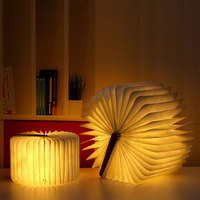 2019 Portable Rechargeable USB Foldable Wooden Book Shape Reading Light Desk Lamp Nightlight Creative for Home Decor Warm White