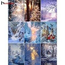 Huacan Full Square Diamond Embroidery Sale Winter Landscape Mosaic Snow Scenery Painting Cross Stitch Rhinestone