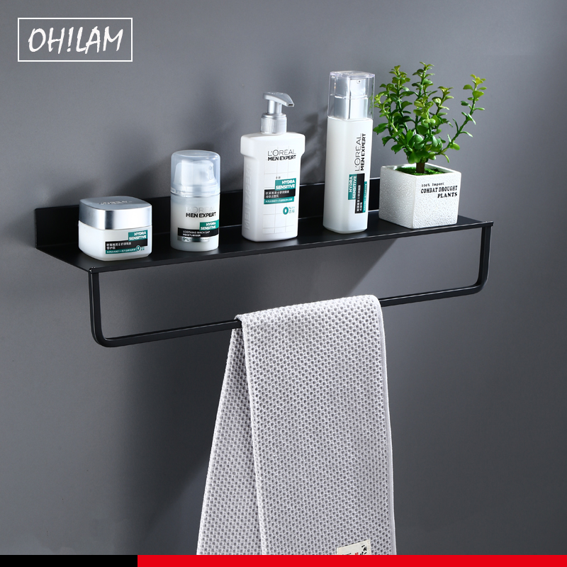 Space Aluminum Black Bathroom Shelves Kitchen Wall Towel Hanger Shelf Shower Storage Rack Bathroom Accessories 30-60cm Lenght