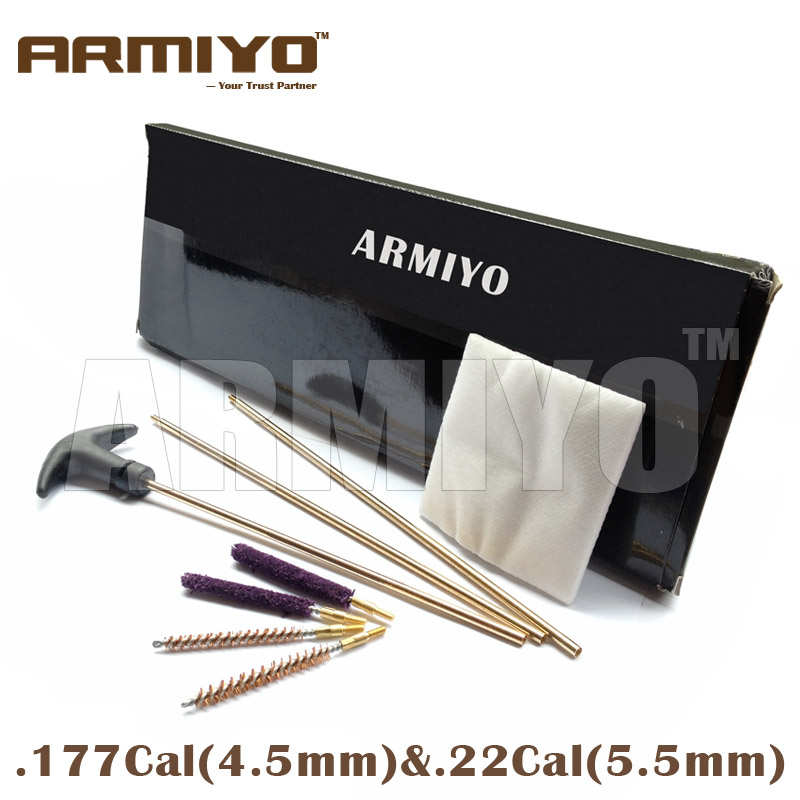 Armiyo Rifle Airsoft Cleaning Kit Air Gun Barrel Brush Cleaner For .177cal 4.5mm & .22cal 5.5mm Hunting Shooting Accessories