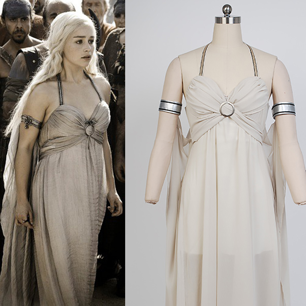 Game of Thrones Daenerys Targaryen Dress  Mother of Drago Sexy Long Dresses  Ball Gown Cosplay Costume Halloween Party For Women