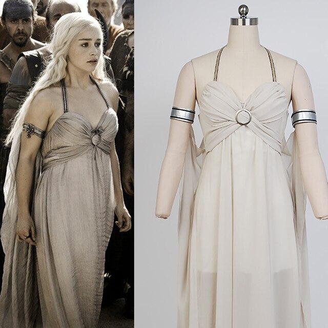 Game of Thrones Daenerys Targaryen Madre del Vestito del Drago Lungo Sexy  Abiti di Sfera Cosplay 0c787d8b529