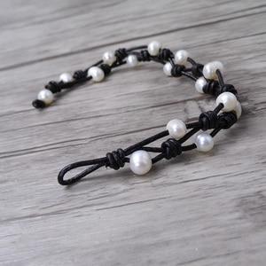 Image 4 - Boho wrap Pearl Leather bracelet Pearl wrap bracelet Single wrap Bracelet Real Pearl Jewelry yoga jewelry