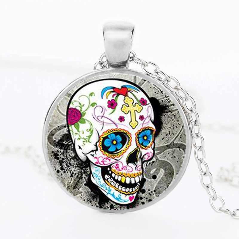 Классический Мексиканский день сахара серебряное ожерелье с подвеской, ожерелье из кристаллов, подарок для мужчин
