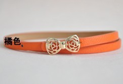 2014Hot Boutique Candy Color Metal Buckle Flower Bow Women's Faux Leather Thin Belt Waistband Female Straps Ladies Cummerbund