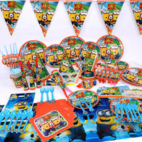 1set Disposable Me Kids Event Birthday Party Tableware Plate Pennant Napkins Set Minions Theme Parties Toys