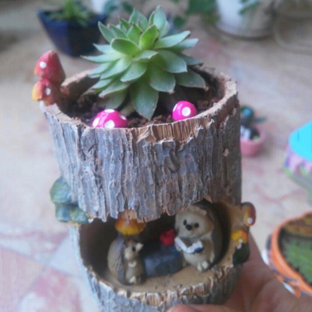 Image 5 - Modern Wooden Resin Bonsai Succulents Pot Retro Permeable Ceramic Green Plant Flower Pots Living Room Office Garden Home Decor-in Flower Pots & Planters from Home & Garden