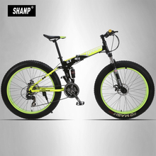UPPER Mountain Fat Bike Full Suspension Steel Folding Frame 24 Speed Shimano Mechanic Brake 26″x4.0 Colored Wheel