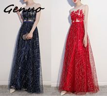 Genuo New 2019 Deep V Neck Bodycon Floor Length Maxi Dress Women Sexy Party Dresses Long Sleeve Sequin Vestidos De Fiest