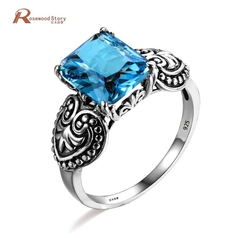 Baroco Heart Shaped Female Blue Stone Geometric Ring Fashion 925 Sterling Silver Jewelry Vintage Wedding Rings For Women