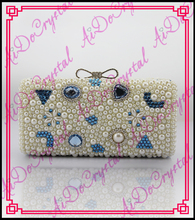 Aidocrystal newest delicate noble bride rhinestone lady party white pearl crystal evening clutch bag
