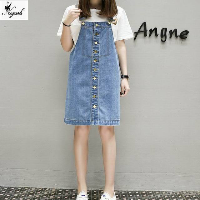 new 2017 Summer Style Loose Strap Jeans Dress Preppy Style Suspender ...