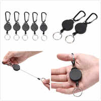 Resilience Steel Wire Rope Elastic Keychain Recoil Sporty Retractable Alarm Key Ring Anti Lost Yoyo Ski Pass ID Card