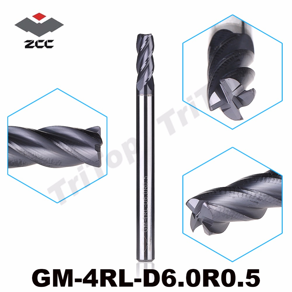ZCC.CT  GM-4RL-D6.0R0.5  4 flute R end mills  with straight shank/Long cutting edge general milling zcc ct gm 4bl r7 0 4 flute ball nose end mills with straight shank long cutting edge end mills cutter