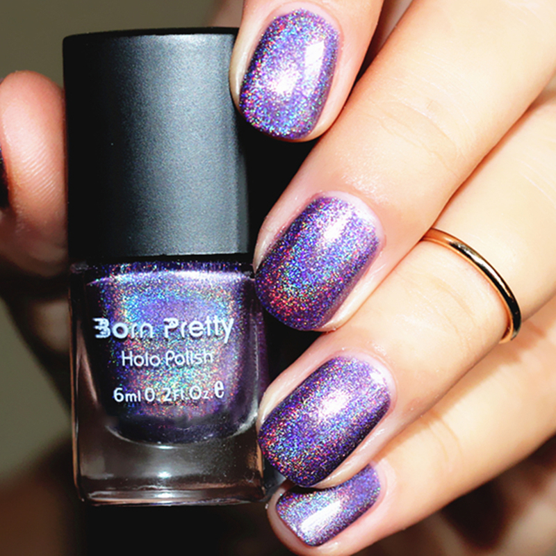 4Pcs/set 6ml BORN PRETTY Holographic Nail Polish Rainbow Shimmer Glitter Varnish Hologram Effect Nail Color Lacquer Manicure