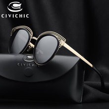 CIVICHIC New Stylish Women Sunglasses Personalized Hollow Eyewear Mirror Coating Glasses UV400 Oculos De Sol Outer HD Gafas E261