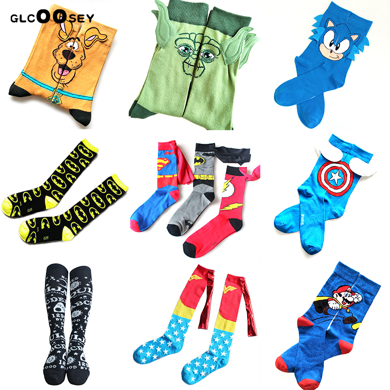21 Style Cartoon Socks Batman The Flash Wonder Woman Superman Puppy Men Hand Sewing Ears Women Cotton  Marvel Comics Tube Socks