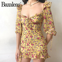 9b65431c761b0 Bazaleas Vintage Yellow Ruffles women T shirt Slim Elastic Shirt Chiffon  Women Tops drop shipping
