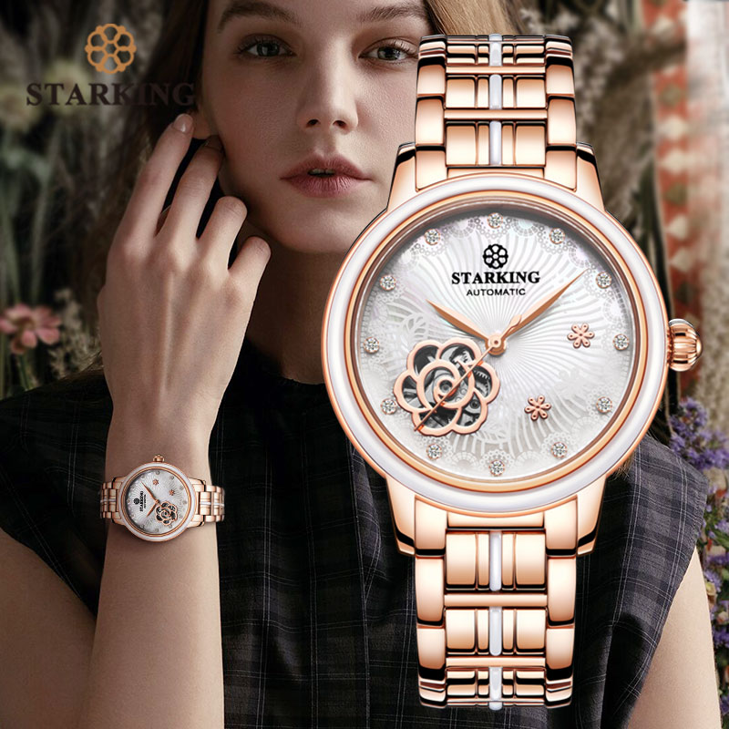STARKING Women Rose Gold Stainless Steel Wrist Watch Luxury Jewels Sapphire Glass Auto Self-Wind Female Mechanical Watch Relogio